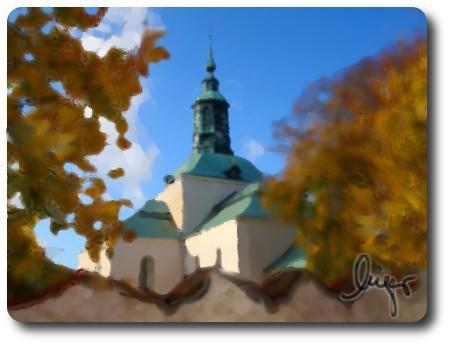 Kyrkan i Karlshamn som falsk oljemålning.