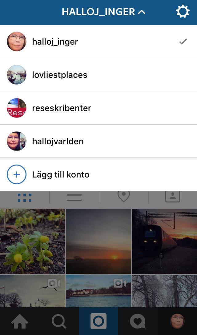 instagram flera konton